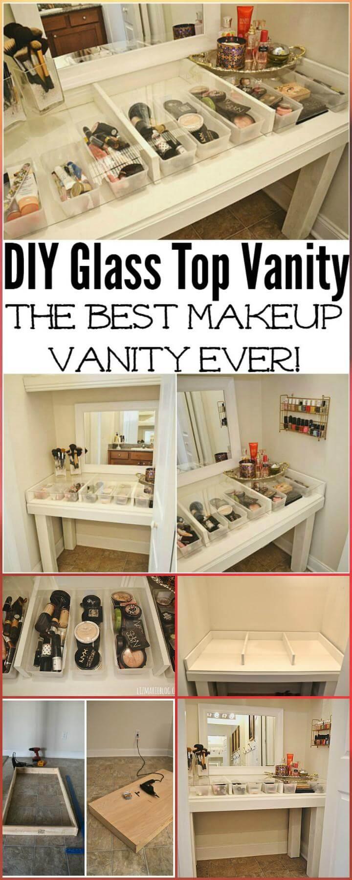 modern glass top makeup vanity DIY
