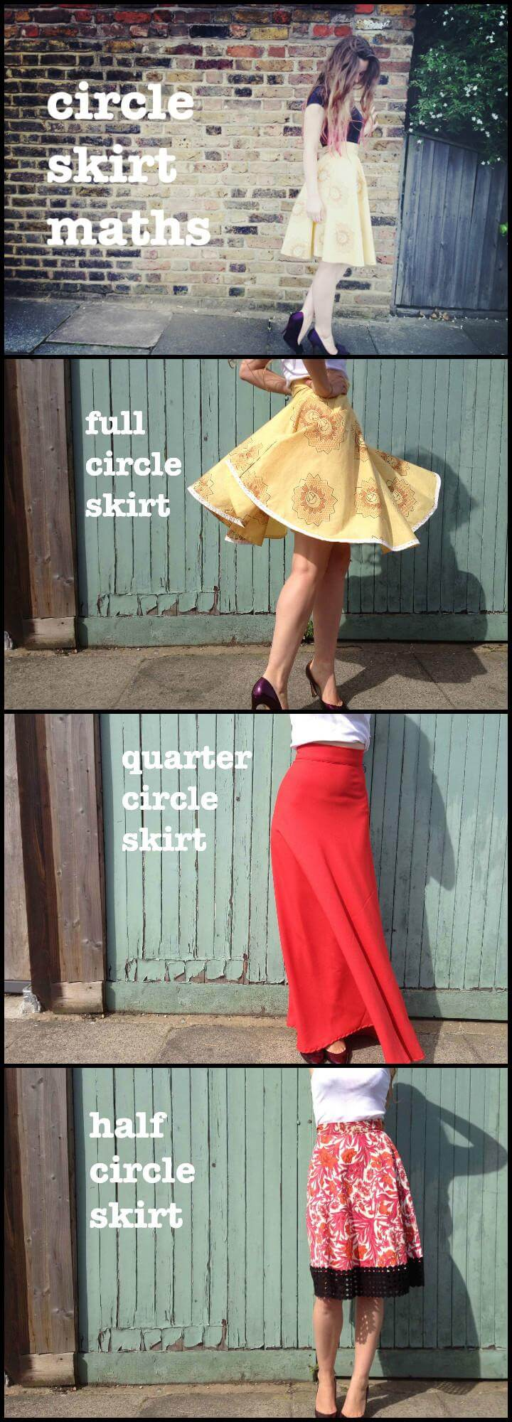 easy circle skirt math explained