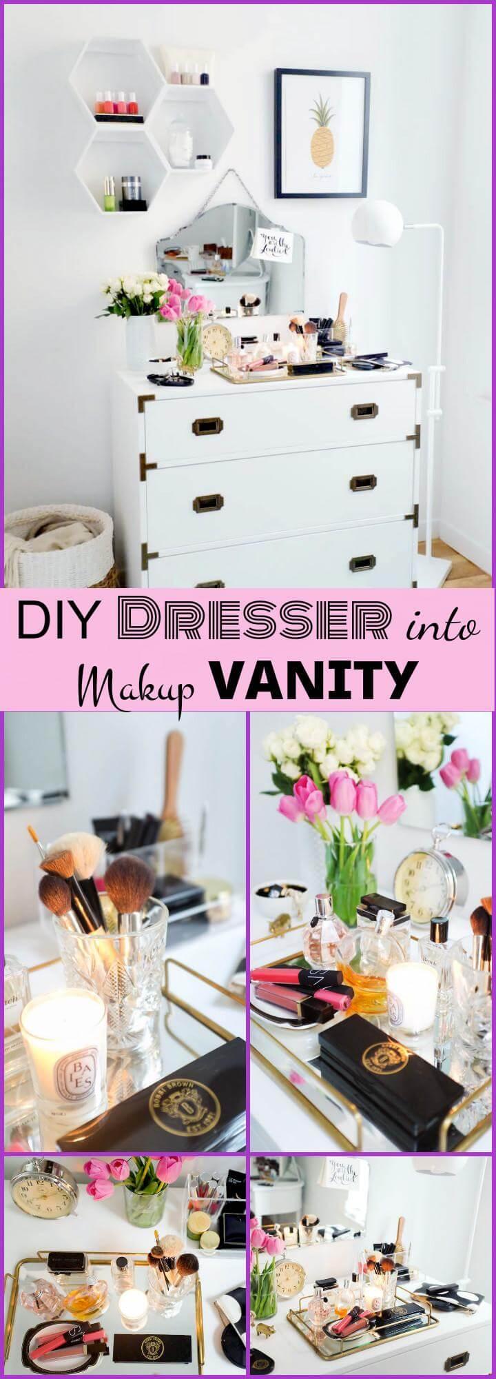 reclaimed old dresser into makeup vanity