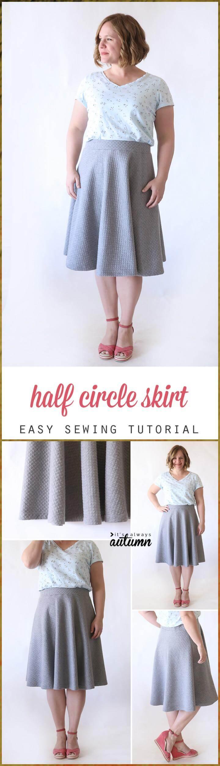 DIY super easy half circle skirt sewing tutorial
