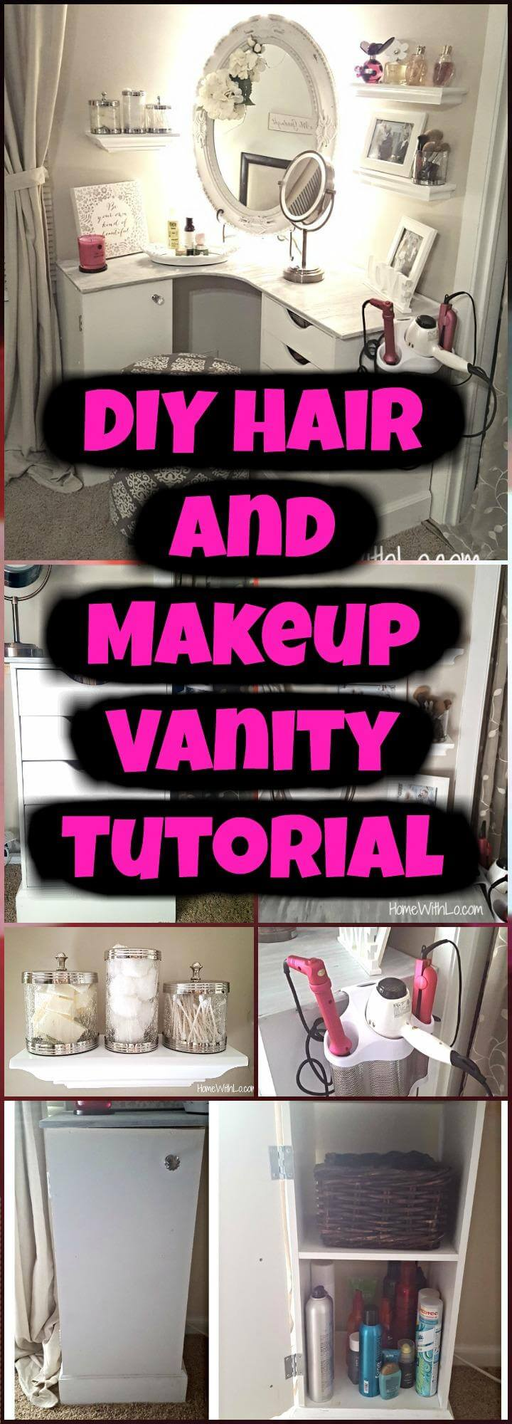 DIY easy hair and makeup vanity