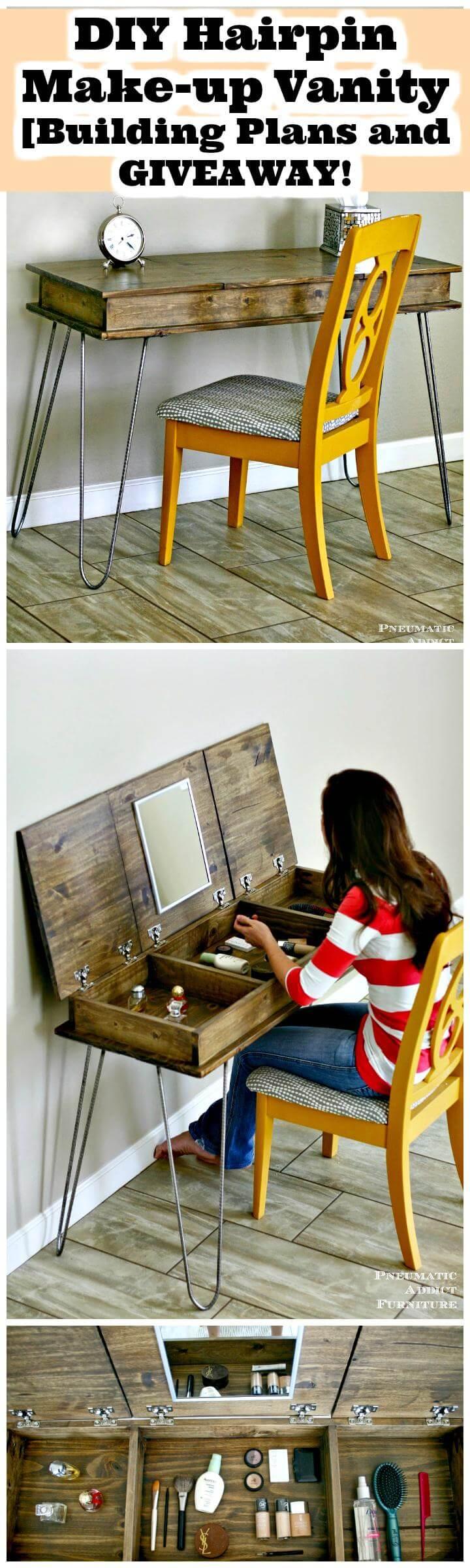 DIY hairpin makeup vanity building plans and giveaway