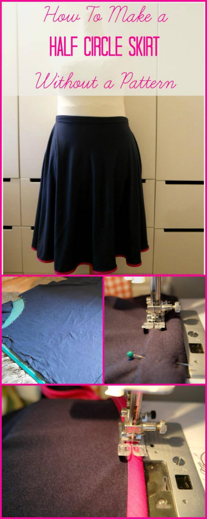 DIY half circle skirt without a pattern