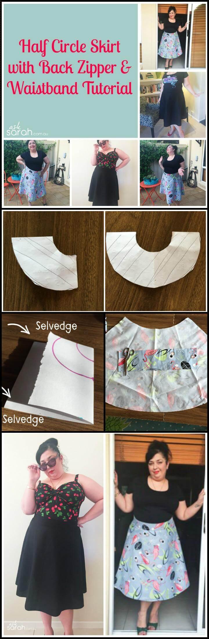 DIY half circle skirt with back zipper waistband sew tutorial