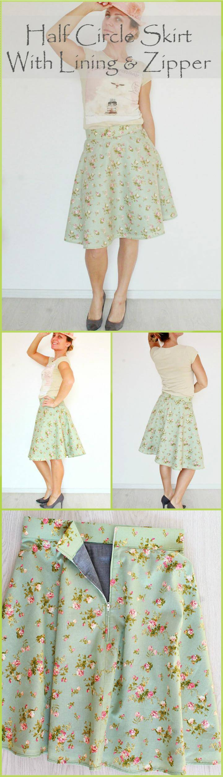 timeless half circle skirt with lining and zipper