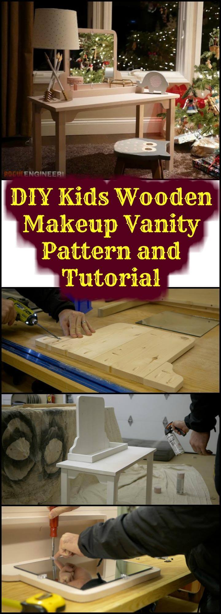 easy kids wooden makeup vanity pattern and tutorial