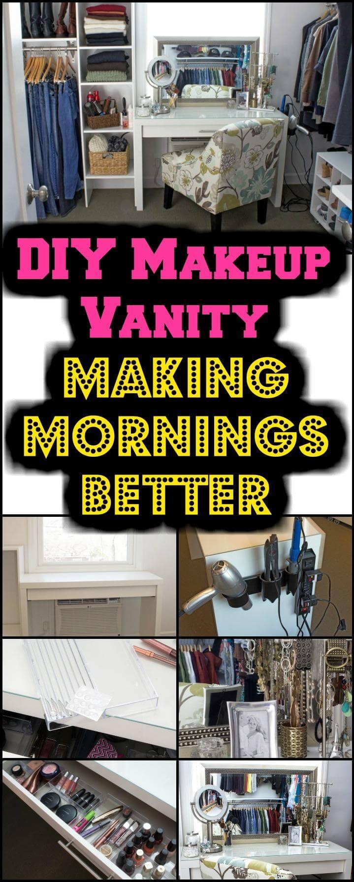 DIY makeup vanity tutorial and instructions