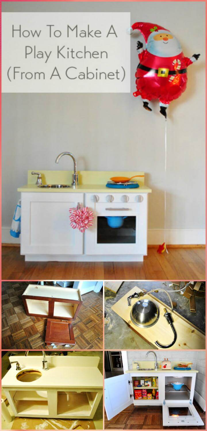repurposed old cabinet playkitchen