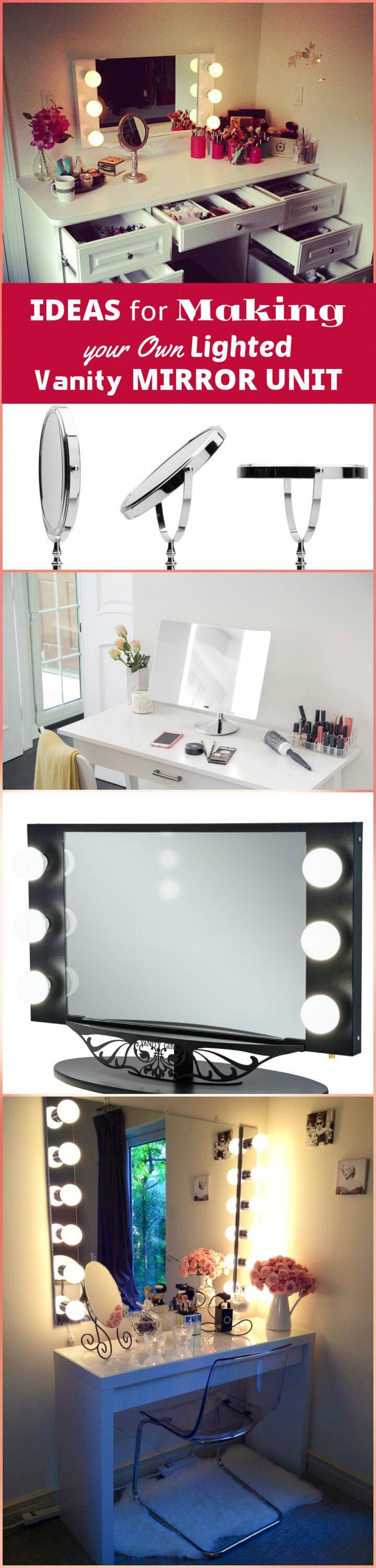 beautiful DIY ideas for making your own lighted vanity mirror unit