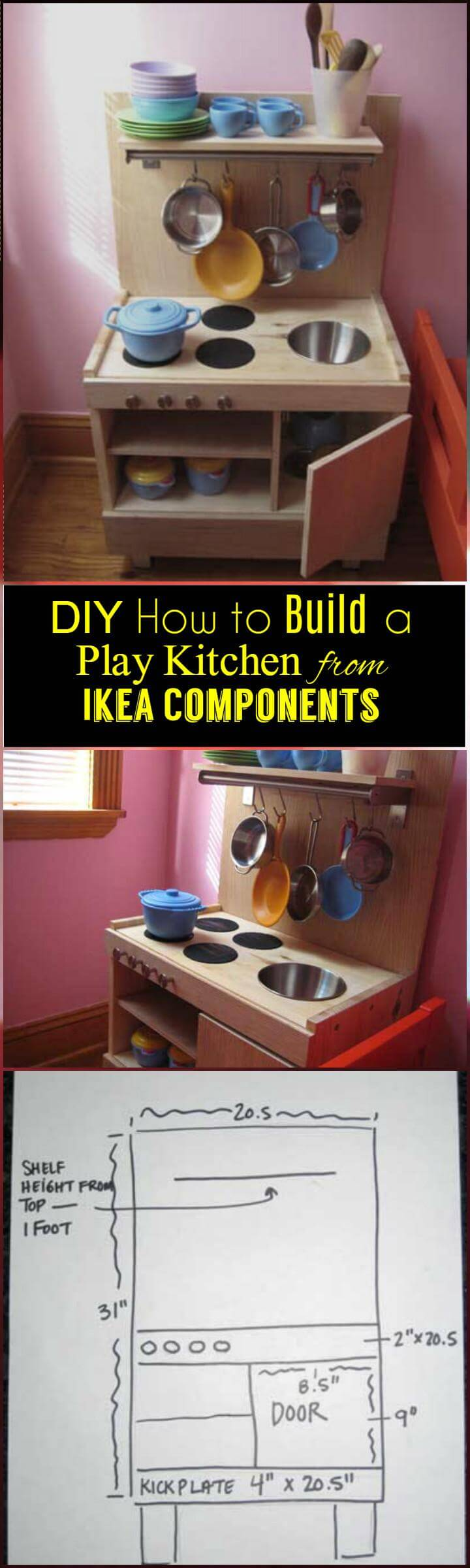 DIY handcrafted Idea component play kitchen