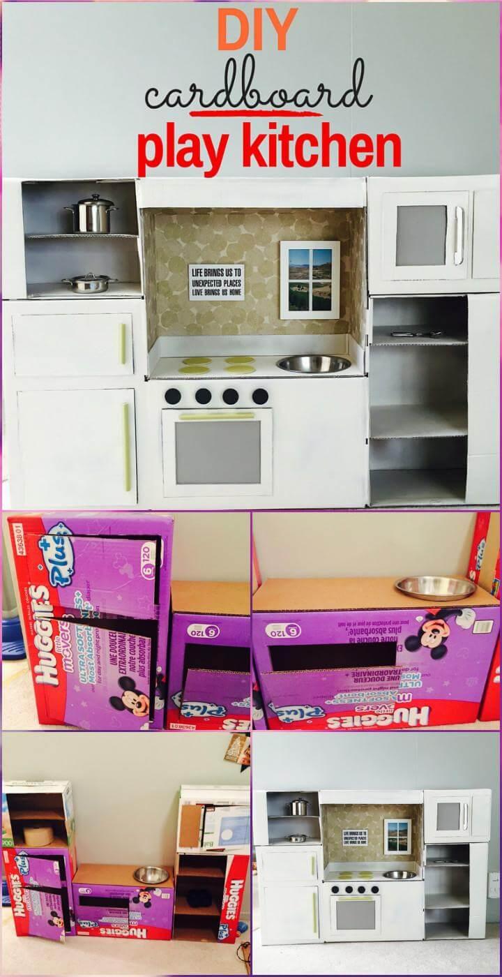 handmade cardboard play kitchen
