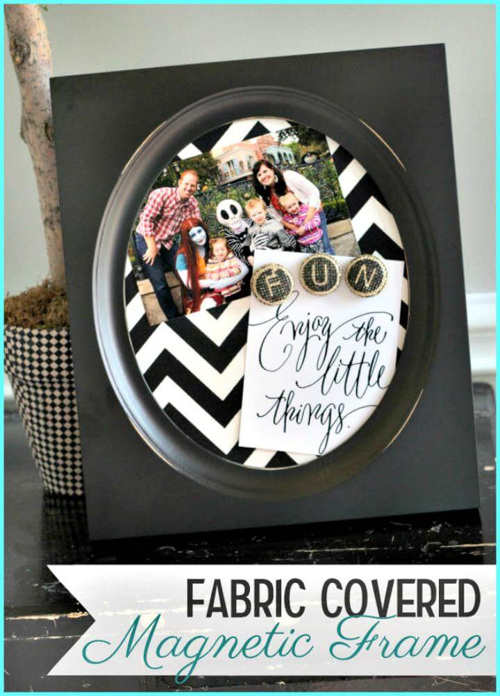 easy fabric covered magnet frame DIY mother's day gift