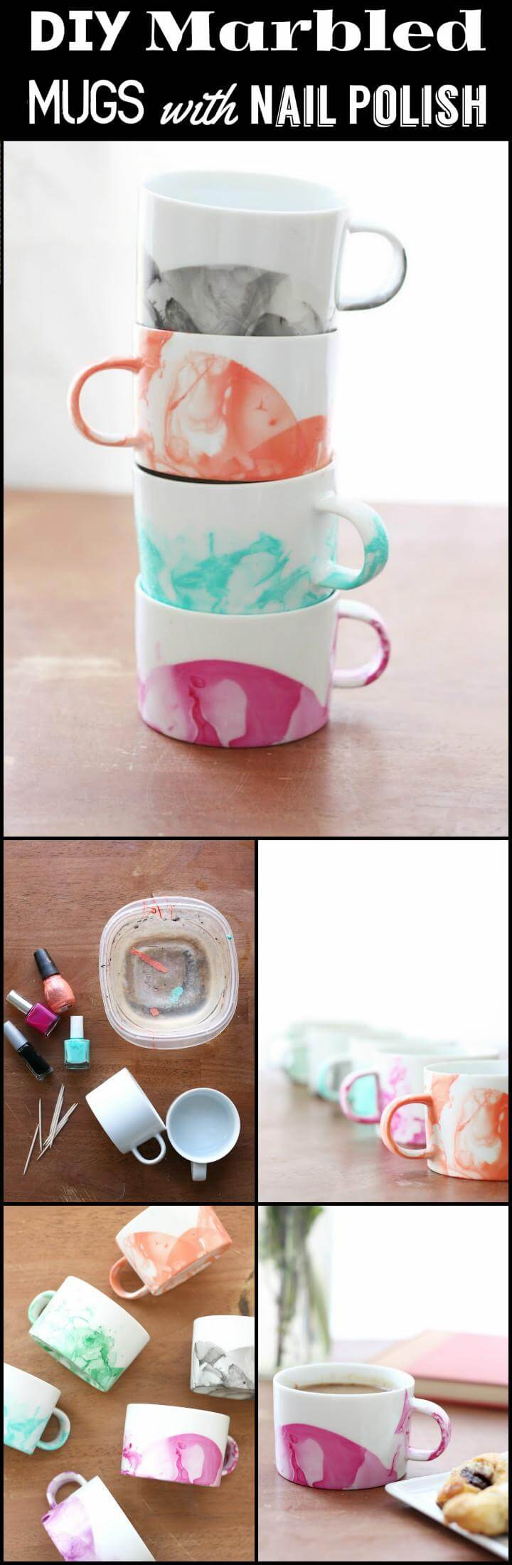 DIY easy marbled mugs with nail polish