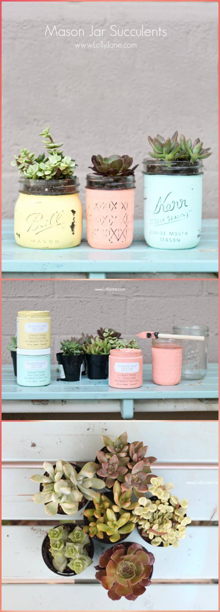 repurposed painted Mason jar succulents