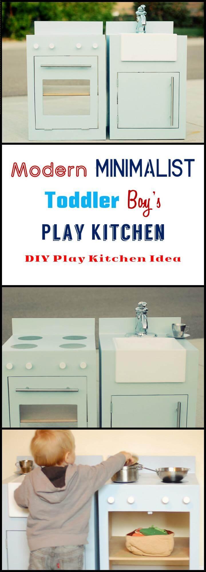 DIY modern minimalist toddler boys play kitchen