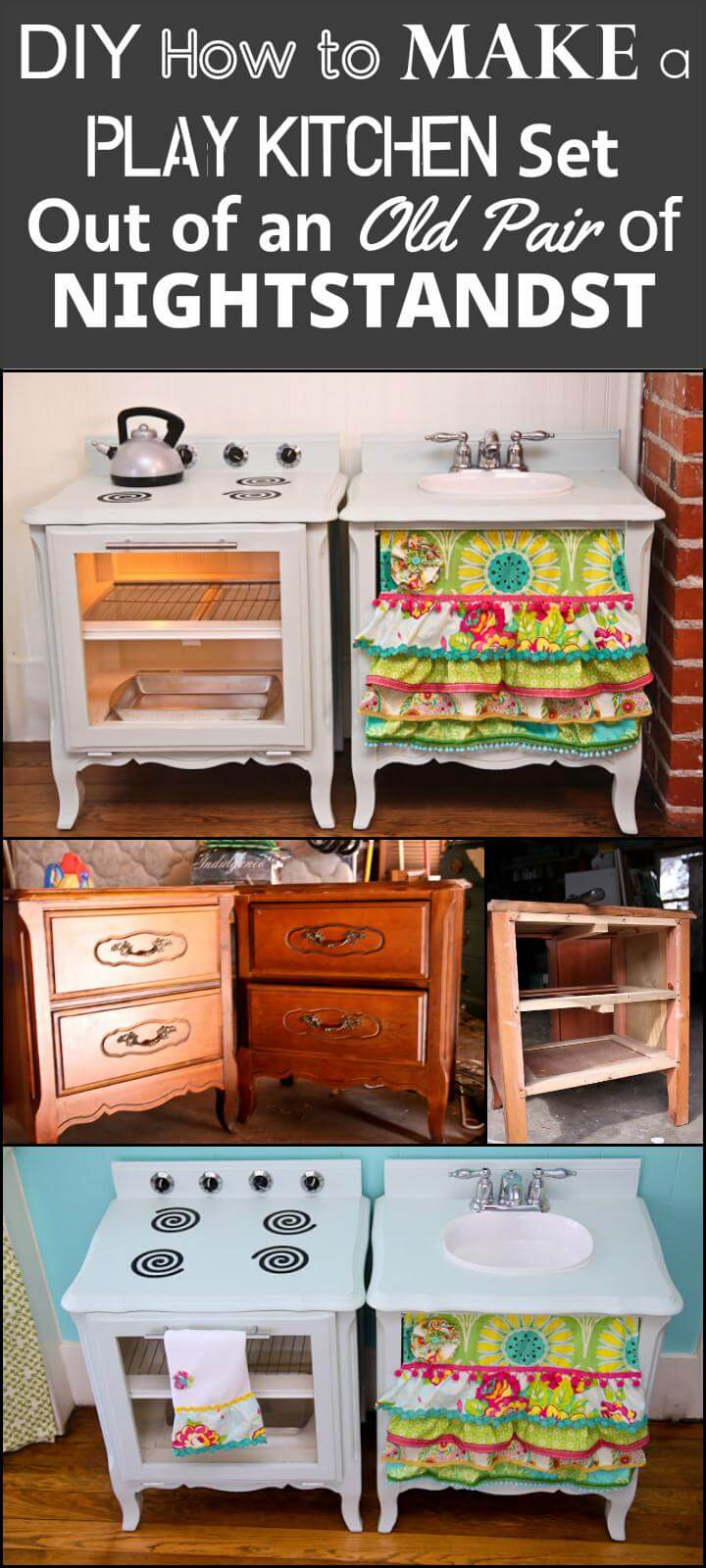 DIY repurposed old nightstand into play kitchen