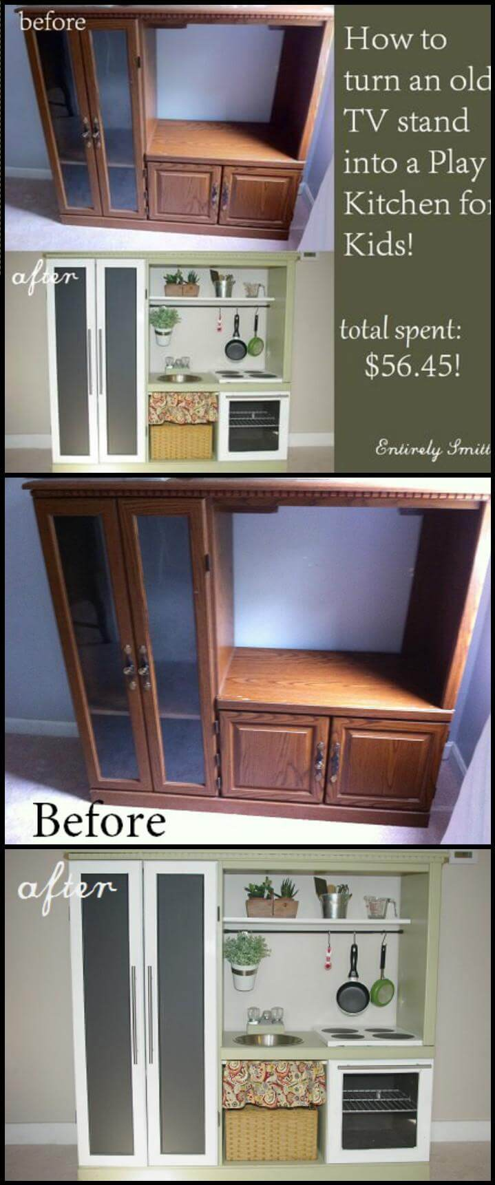 upcycled TV stand into beautiful play kitchen