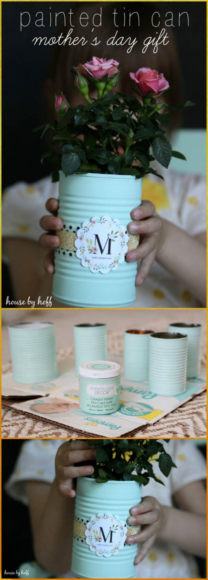 DIY hand painted tin can Mother's Day gift