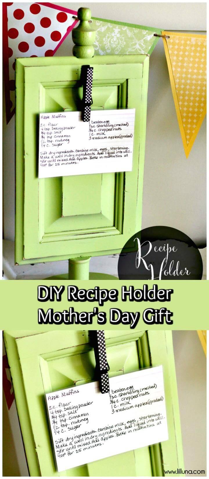 DIY recipe holder Mother's Day gift