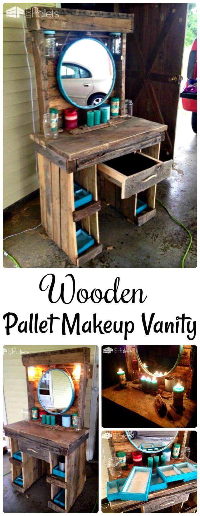 DIY wooden pallet makeup vanity