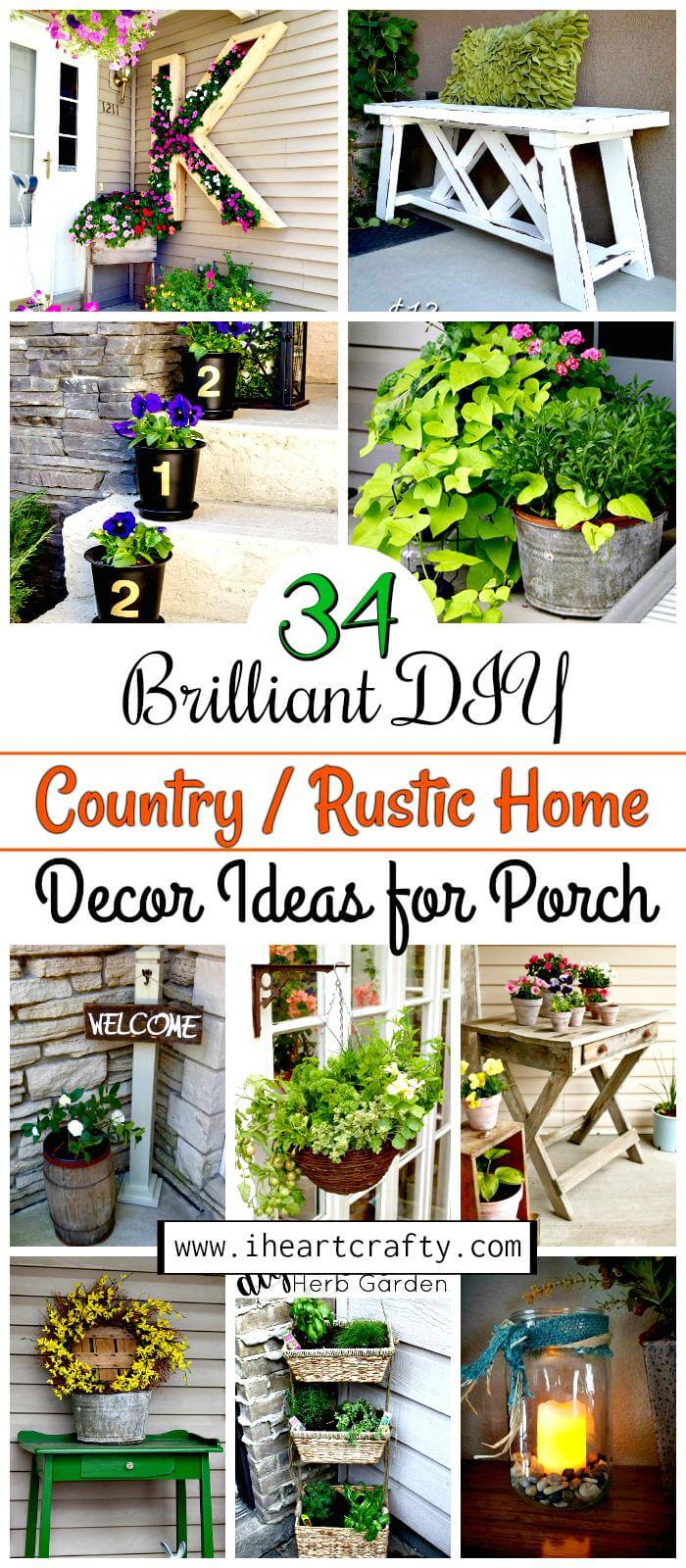 34 brilliant diy country rustic home decor ideas for porch Rustic home decor ideas diy